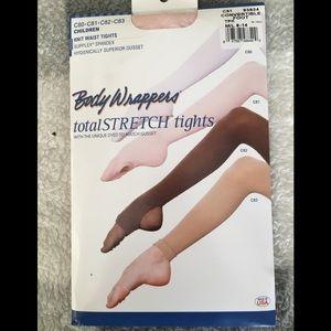 NWT knit waist convertible dancer foot tights pink